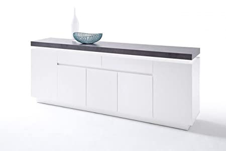 Dreams4Home Sideboard 'Sharun II' - Schrank, Kommode, Konsole, Sideboard, Highboard, Aufbewahrung, B/H/T: 200 x 40 x 80 cm, in matt weiß lackiert, Beton Dekor, inkl. Infrarot LED