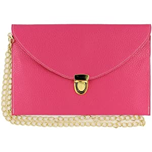Womens Envelope Clutch Chain Purse Lady Handbag Tote Shoulder Hand Bag-Rose