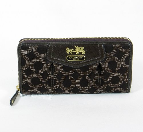 Coach Mahogany Brown Dotted Signature Accordion Zippered Wallet Bag 44365