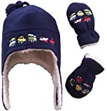 N'Ice Caps Boys Sherpa Lined Micro Fleece Embroidered Hat and Mitten Set