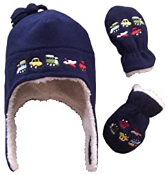 N\'Ice Caps Boys Sherpa Lined Micro Fleece Embroidered Hat and Mitten Set (6-18 months, Infant - Navy)