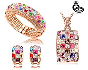 Ninabox ® The Queen Collection [TQC] -- The Queen Sets. 18k Rose Gold Plated Alloy Bracelet, Necklace and Earrings with Luxury Fashion Multicolored Swarovski Elements Crystal Set. Ninabox Original Design. 3-Set In One! Bracelet Diameter: 5.7 cm. Chain Length: 40 cm+ 5 cm. Pendant Size: 4.1 cm * 21 cm. Earrings Size: 2.1 cm* 1.2 cm. T000026