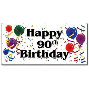 Amazon.com: Happy 90th Birthday - 3' x 6' Vinyl Banner: Office