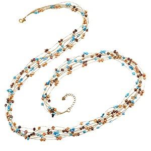 Genuine Multi-Colored Fresh water Cultured Pearl 7-Strand Gold Silk Thread Long Necklace 36