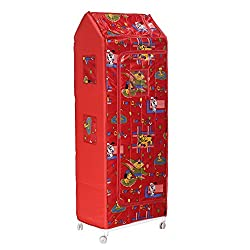 Archana Novelty Plastic Folding Kids Almirah ( 6 Shelf, Red)