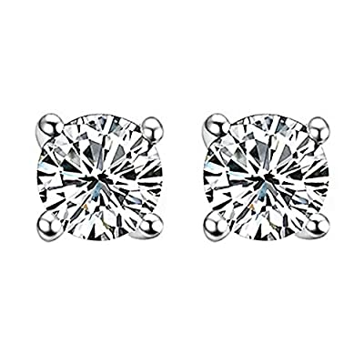 Classic Sterling Silver Earring Studs with Brilliant AAA class Cubic Zircon CZ Stone