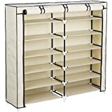 Songmics 7-Tier Shoe Rack 36-Pair Shoe Storage Cabinet Organizer Portable Clothes Closet with Fabric Cover Beige URXJ12M
