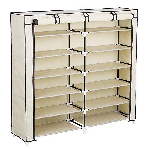 SONGMICS 7-Tier Portable Shoe Rack Organizer 36-Pair Shoe Storage Cabinet Beige URXJ12M