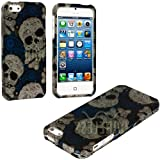 myLife (TM) Abstract White + Blue Paisley Skulls Series (2 Piece Snap On) Hardshell Plates Case for the iPhone 5/5S (5G) 5th Generation Touch Phone (Clip Fitted Front and Back Solid Cover Case + Rubberized Tough Armor Skin + Lifetime Warranty + Sealed Inside myLife Authorized Packaging)