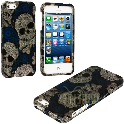 Mylife (Tm) Abstract White + Blue Paisley Skulls Series (2 Piece Snap On) Hardshell Plates Case For The Iphone 5/5S (5G) 5Th Generation Touch Phone (Clip Fitted Front And Back Solid Cover Case + Rubberized Tough Armor Skin + Lifetime Warranty + Sealed Ins
