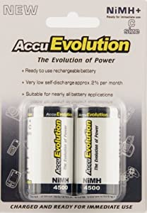 AccuEvolution C NiMH Precharged Low Self Discharge Rechargeable Batteries - high drain, all other use