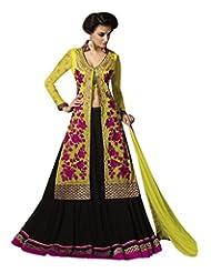 Stylelok Black Georgette Unstitched Anarkali Suit SL 175015500