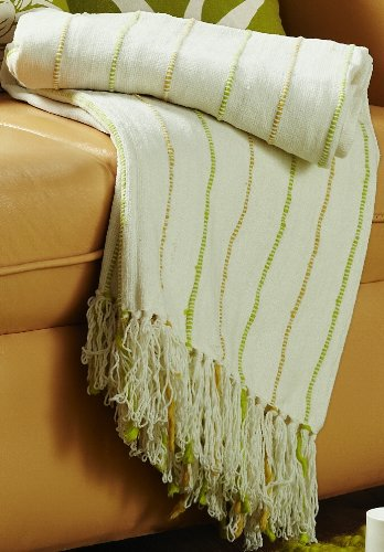 Jovi Home Nature Chenille Hand Woven Throw 50-Inch-By-60-Inch, Natural (Ivory With Green & Gold Accents)
