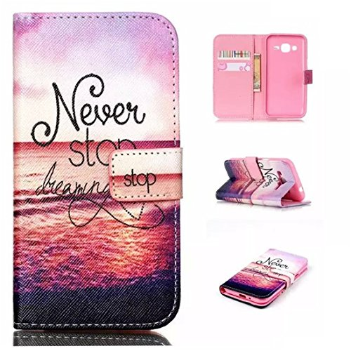 J1 Ace Case, Samsung Galaxy J1 Ace Case,Enjoy Sunlight [Never Stop Dreaming] [Kickstand Feature] Luxury Wallet PU Leather Folio Wallet Flip Case Cover Built-in Card Slots for Samsung Galaxy J1 Ace (Galaxy Ace Kickstand Cases compare prices)