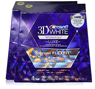Crest 3D White Luxe Whitestrips Supreme FlexFit-Teeth Whitening Kit 14 treatments, 28 strips (2 Pack)