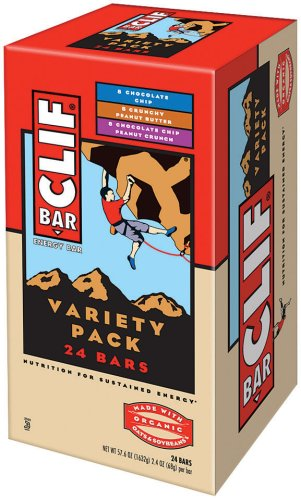 Clif Bar Energy Bars, Variety Pack of Chocolate Chip, Crunchy Peanut Butter, and Chocolate Chip Peanut Crunch, 2.4-Ounce Bars (Pack of 24)