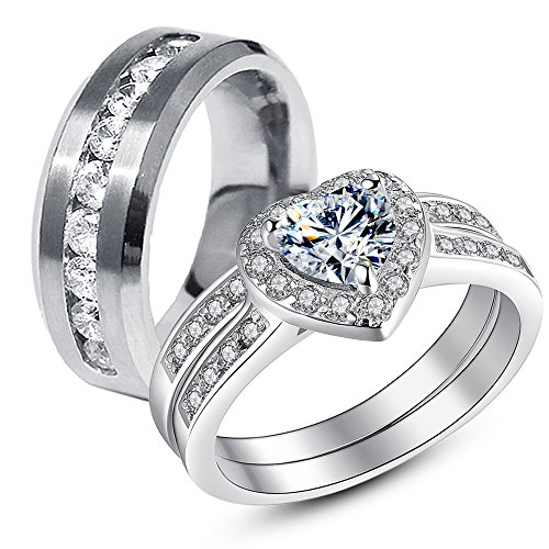 3 Pcs His Hers Stainless Steel Women's Wedding Engagement Rings & Men's Matching Band (His Her Wedding Rings compare prices)