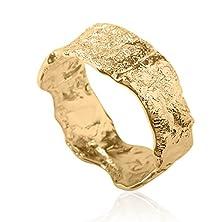 buy Unique Modern Asymmetrical Classic Rough Wedding Ring Band 14K Yellow Gold