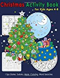 Christmas Activity Book For Kids Ages 4-8: I Spy Game, Sudoku, Maze, Coloring, Word Searches