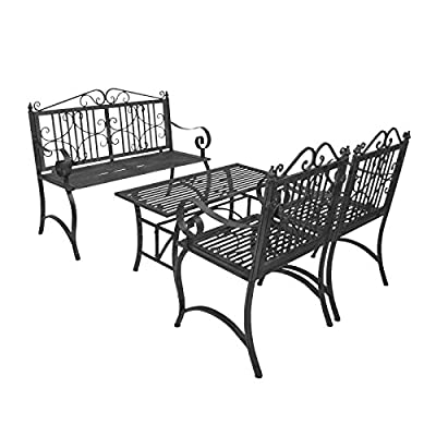 Bentley Garden Furniture Set Wrought Iron 4 Piece Outdoor Bench Chairs Table - Grey