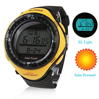 Unisex Solar Powered Multi-Functional Digital Wrist Watch (Yellow)