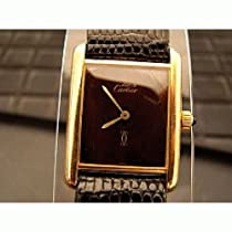 Cartier Tank Watch: Antique/Vintage: Pre Owned Women's Cartier Watch Tank Vermeil with Chocolate Brown Marble Dial Swiss Manual Wind Movement 1970's