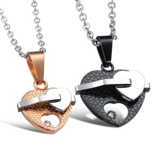 Opk Jewellery Necklaces Charms Stainless Steel Neckwear Chains Closer Hearts Pendants Gold For Women And Black For Men