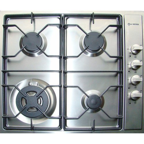 Verona Verona VECTG424SS Gas 4 Burner Cooktop Stainless Steel, 24-Inch