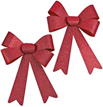 Jumbo Red Glitter Christmas Bows - 2 Pieces Per Unit and Measure 11quot X 17quot