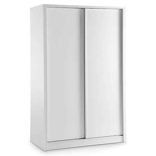 LPD Furniture Novello armario, 2 puertas correderas en blanco brillante