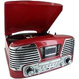 PLATINE TOURNE DISQUES 3 VITESSES-SD-LECTEUR CD-RADIO-ENCODEUR-USB 2.0-MP3 ROUGE METALLISE