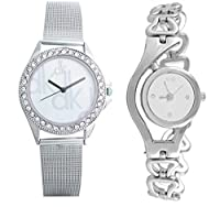 Bollywood Designer Silver & White Dial Watch For Women & Girls Pack Of 2 (Design-11) Dispatch Within 12 Hour