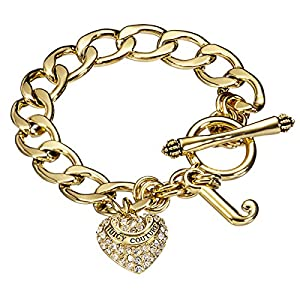 Juicy Couture Starter Pave Heart Charm Bracelet - Gold