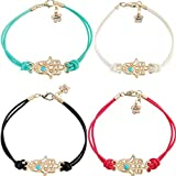 4pcs Fashion Hamsa Fatima Hand Evil Eye Bracelet Handmade Bangle Lucky Protection