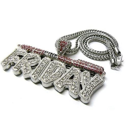 Silver with Pink Iced Out Nicki Minaj Pink Friday Pendant with a 20 Inch Franco Chain Necklace Barbie
