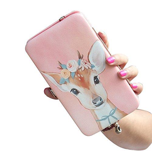 Uming® Colorful Fashion Variopinta moda PU delle donna della borsa borsa del portafoglio signora Clutch Wallet Purse borsetta per IPhone 6Plus 6sPlus o l'altro formato del telefono a meno di 5.7'' | Pink Dear