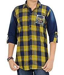 Kidzee 100% Cotton Fashionable Yellow Color Designer Cotton Checkered Casual Shirt
