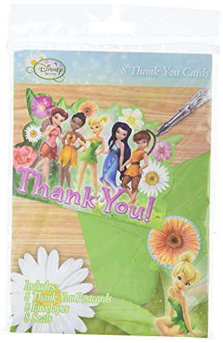 Amscan Tinker Bell Best Friends Fairies Postcard Thank You Notes, Multicolor