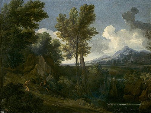 Oil Painting 'Dughet Gaspard Paisaje Con Caminante Ca. 1644 ' Printing On Perfect Effect Canvas , 16 X 21 Inch / 41 X 54 Cm ,the Best Hallway Gallery Art And Home Decor And Gifts Is This Vivid Art Decorative Canvas Prints