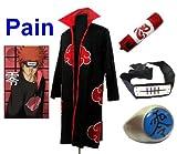 Traje de Cosplay para cosplay Naruto Akatsuki Pain Ninja Set- Capa (M:Tamaño 159cm-168cm)+caja de lápiz+Pain diadema+anillo