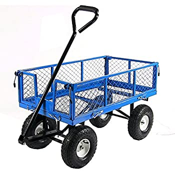 Sunnydaze Blue Heavy-Duty Steel Log Cart, 34 Inches Long x 18 Inches Wide, 400 Pound Weight Capacity