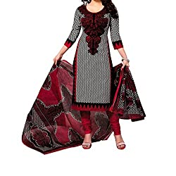Vedant Vastram Woman's Poly Cotton Printed Unstitched Dress Material (Black & Red Colour)