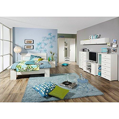 Jugendzimmer Manuel 3-tlg weiß Kinderzimmer Kleiderschrank Bett inkl Kopfteil Nachttisch Spiegelschrank LGA/GS geprüft online kaufen