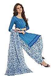 PShopee Sky Blue & White Cotton Printed Unstitched Salwar Suit Dress Material