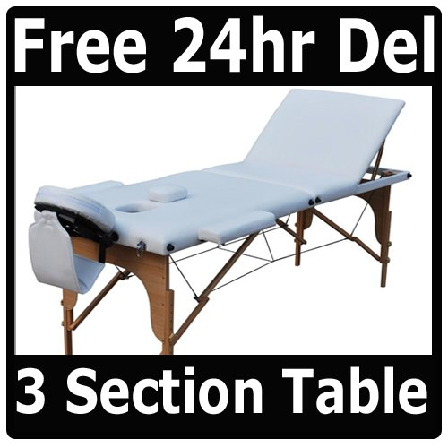 NEW PRO WHITE PORTABLE MASSAGE TABLE BEAUTY COUCH  &  BAG