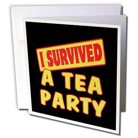 Dooni Designs Survive Sayings - I Survived A Tea Party Survial Pride And Humor Design - 6 Greeting Cards With Envelopes (Gc_117710_1)