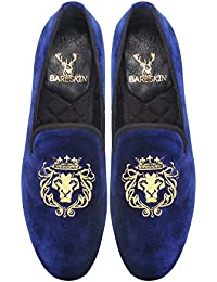 Bareskin Mens Handmade Blue Flat Sole Velvet Slipon With Lion-King Embroidery / Limited Edition/Extra Comfortable...