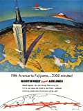 TRAVEL MOUNT FUJI JAPAN NORTHWEST AIRLINE USA VINTAGE ADVERTISING POSTER 2440PY