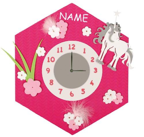Bastelset 3-D Uhr / elektrische Wanduhr – incl. NAME – Einhorn Pferd pink Mädchen – Kinderzimmer Kinderuhr Uhren Komplett Set günstig bestellen