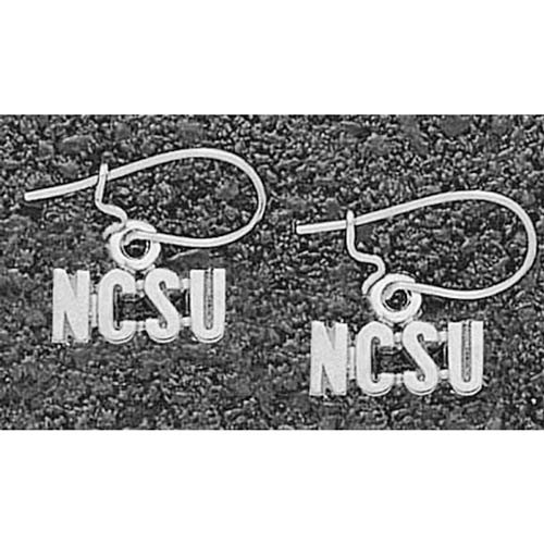 LogoArt NC State Wolfpack Sterling Silver Team Font 3/16 Dangle Earrings